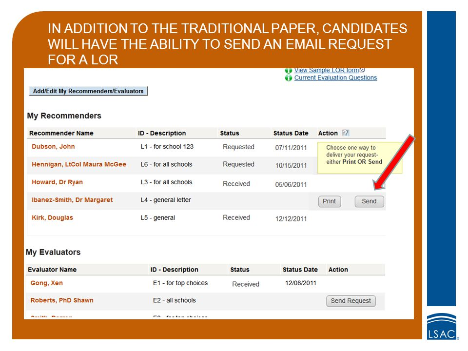 IN ADDITION TO THE TRADITIONAL PAPER, CANDIDATES WILL HAVE THE ABILITY TO SEND AN EMAIL REQUEST FOR A LOR