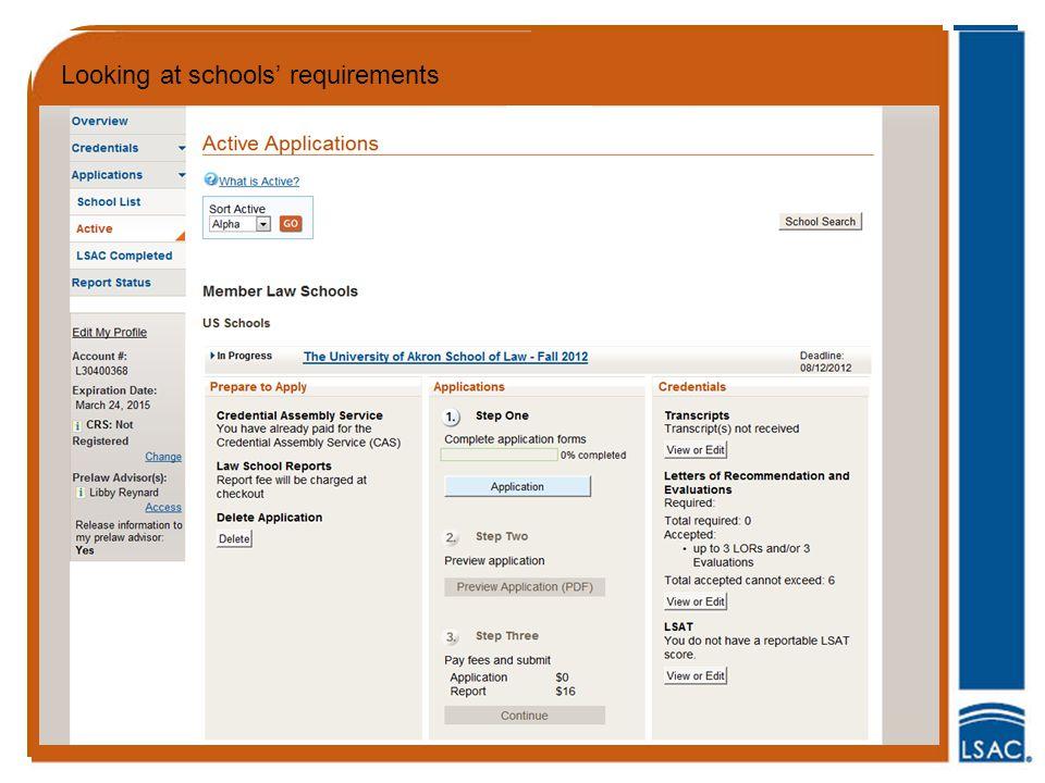 Looking at schools' requirements