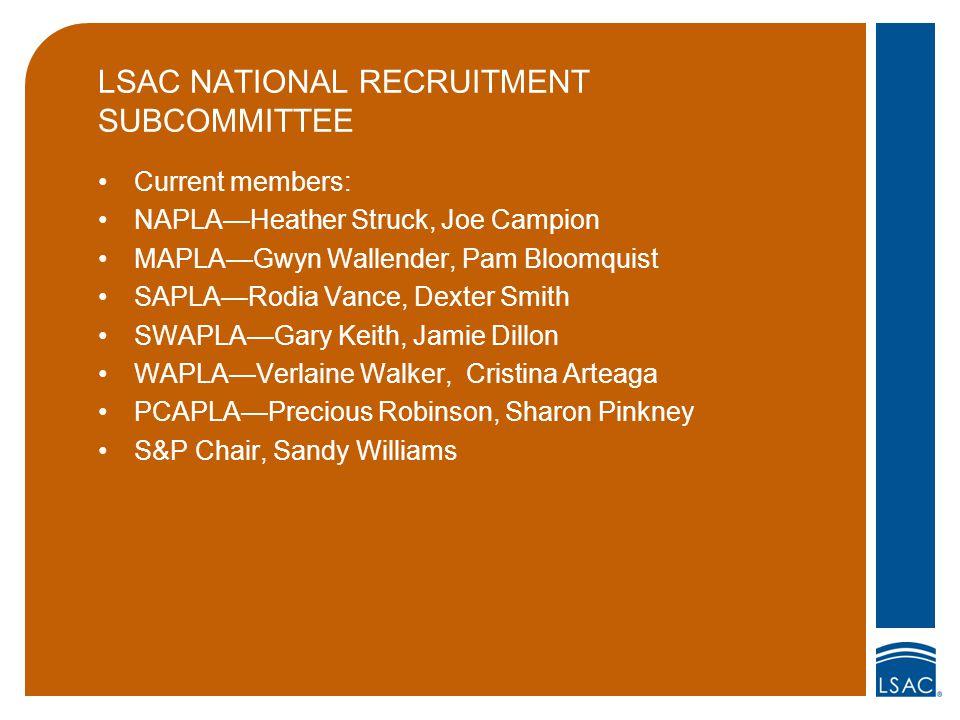 LSAC NATIONAL RECRUITMENT SUBCOMMITTEE Current members: NAPLA—Heather Struck, Joe Campion MAPLA—Gwyn Wallender, Pam Bloomquist SAPLA—Rodia Vance, Dext