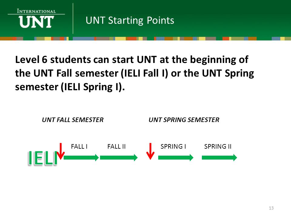 UNT Starting Points UNT FALL SEMESTERUNT SPRING SEMESTER FALL IFALL IISPRING IISPRING I Level 6 students can start UNT at the beginning of the UNT Fall semester (IELI Fall I) or the UNT Spring semester (IELI Spring I).
