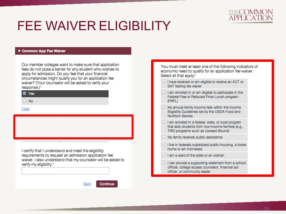 24 FEE WAIVER ELIGIBILITY