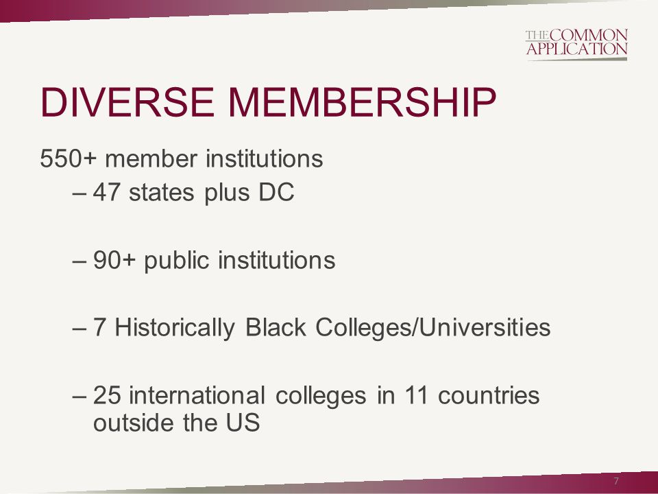 DIVERSE MEMBERSHIP 550+ member institutions –47 states plus DC –90+ public institutions –7 Historically Black Colleges/Universities –25 international