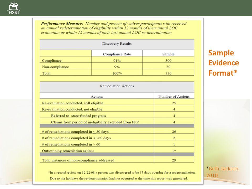 Sample Evidence Format* *Beth Jackson, 2010