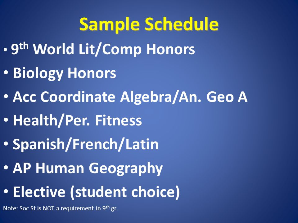 Sample Schedule 9 th World Lit/Comp Honors Biology Honors Acc Coordinate Algebra/An.