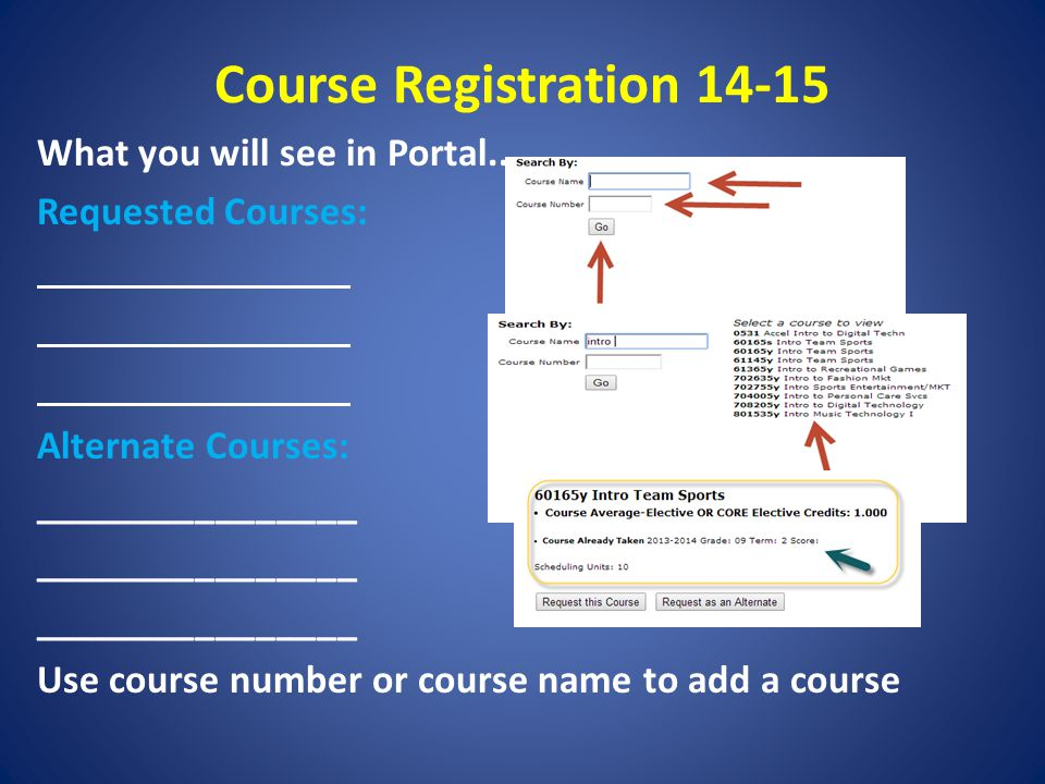 Course Registration 14-15 What you will see in Portal.. Requested Courses: Alternate Courses: ________________ Use course number or course name to add
