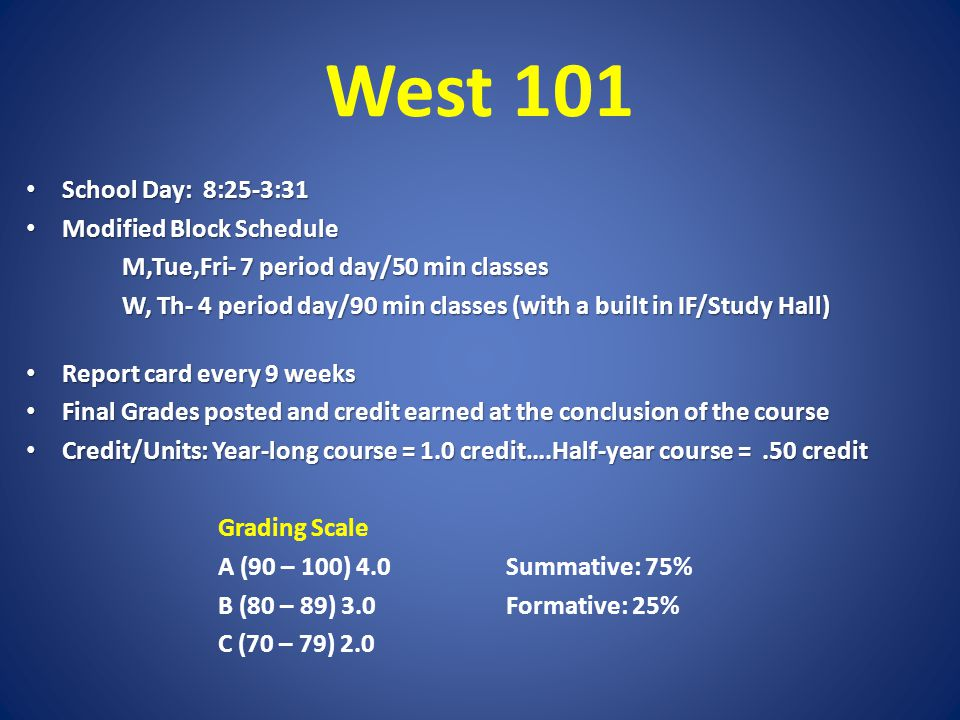 West 101 School Day: 8:25-3:31 School Day: 8:25-3:31 Modified Block Schedule Modified Block Schedule M,Tue,Fri- 7 period day/50 min classes W, Th- 4 period day/90 min classes (with a built in IF/Study Hall) Report card every 9 weeks Report card every 9 weeks Final Grades posted and credit earned at the conclusion of the course Final Grades posted and credit earned at the conclusion of the course Credit/Units: Year-long course = 1.0 credit….Half-year course =.50 credit Credit/Units: Year-long course = 1.0 credit….Half-year course =.50 credit Grading Scale A (90 – 100) 4.0Summative: 75% B (80 – 89) 3.0Formative: 25% C (70 – 79) 2.0