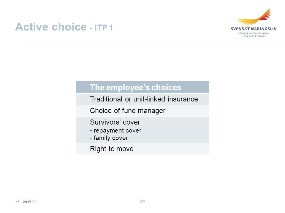 The employee's choices Traditional or unit-linked insurance Choice of fund manager Survivors' cover - repayment cover - family cover Right to move Active choice - ITP 1 ITP 162015-01