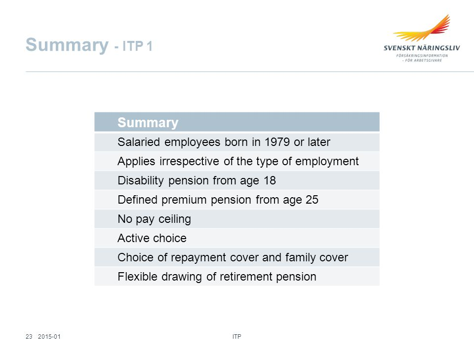 Summary Salaried employees born in 1979 or later Applies irrespective of the type of employment Disability pension from age 18 Defined premium pension from age 25 No pay ceiling Active choice Choice of repayment cover and family cover Flexible drawing of retirement pension Summary - ITP 1 ITP 232015-01