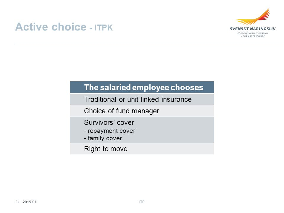 The salaried employee chooses Traditional or unit-linked insurance Choice of fund manager Survivors' cover - repayment cover - family cover Right to move Active choice - ITPK ITP 312015-01