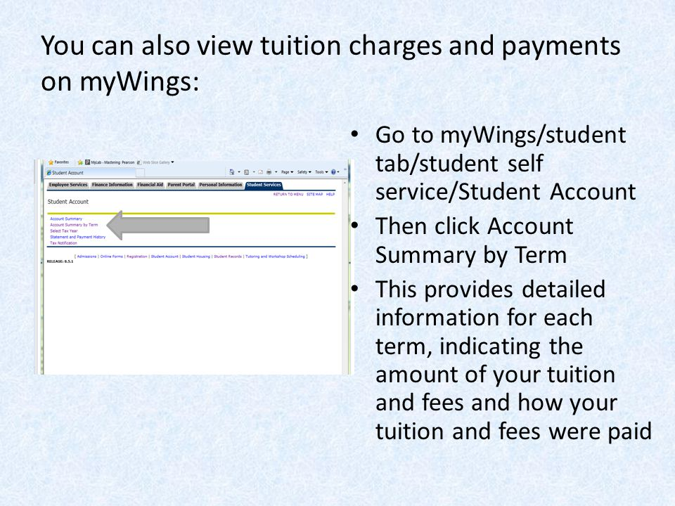 You can also view tuition charges and payments on myWings: Go to myWings/student tab/student self service/Student Account Then click Account Summary by Term This provides detailed information for each term, indicating the amount of your tuition and fees and how your tuition and fees were paid