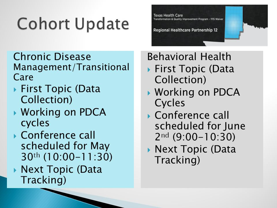 Chronic Disease Management/Transitional Care  First Topic (Data Collection)  Working on PDCA cycles  Conference call scheduled for May 30 th (10:00-11:30)  Next Topic (Data Tracking) Behavioral Health  First Topic (Data Collection)  Working on PDCA Cycles  Conference call scheduled for June 2 nd (9:00-10:30)  Next Topic (Data Tracking)