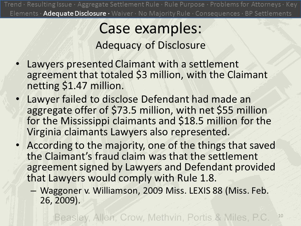 Case examples: Adequacy of Disclosure Lawyers presented Claimant with a settlement agreement that totaled $3 million, with the Claimant netting $1.47 million.