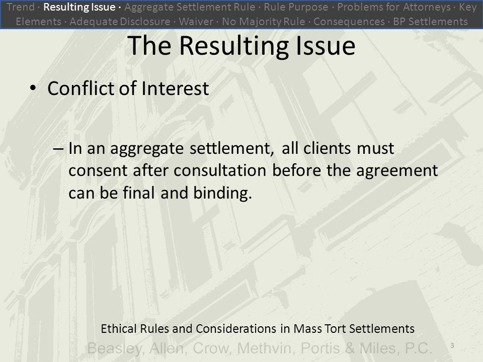 The Resulting Issue Conflict of Interest – In an aggregate settlement, all clients must consent after consultation before the agreement can be final and binding.