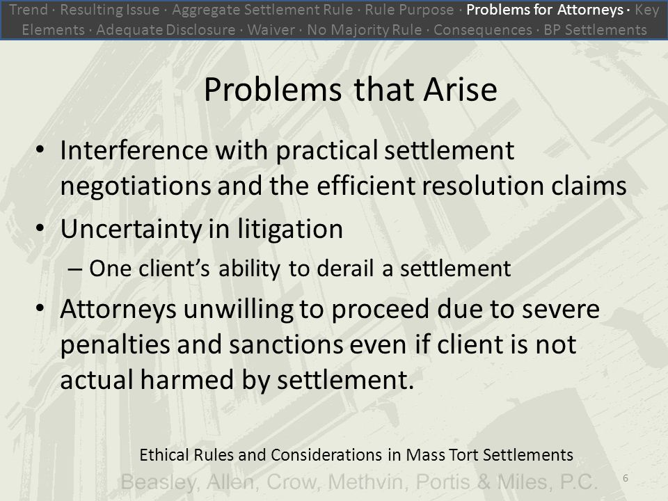 Problems that Arise Interference with practical settlement negotiations and the efficient resolution claims Uncertainty in litigation – One client's ability to derail a settlement Attorneys unwilling to proceed due to severe penalties and sanctions even if client is not actual harmed by settlement.