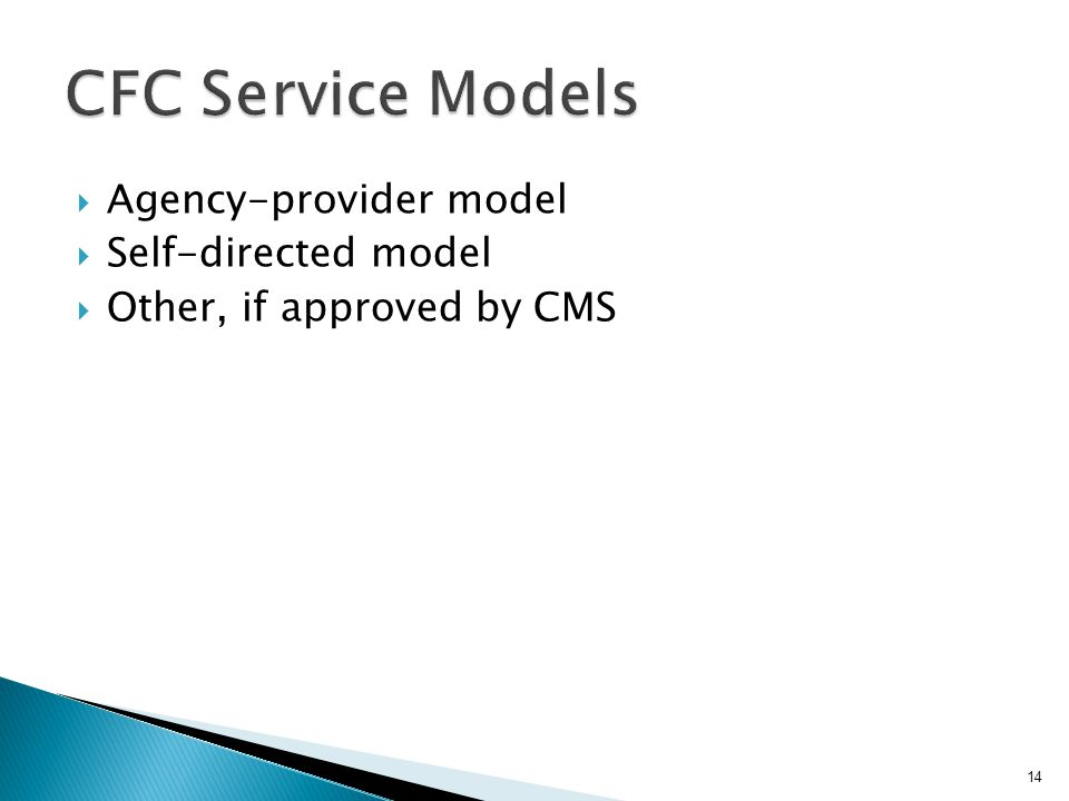  Agency-provider model  Self-directed model  Other, if approved by CMS 14