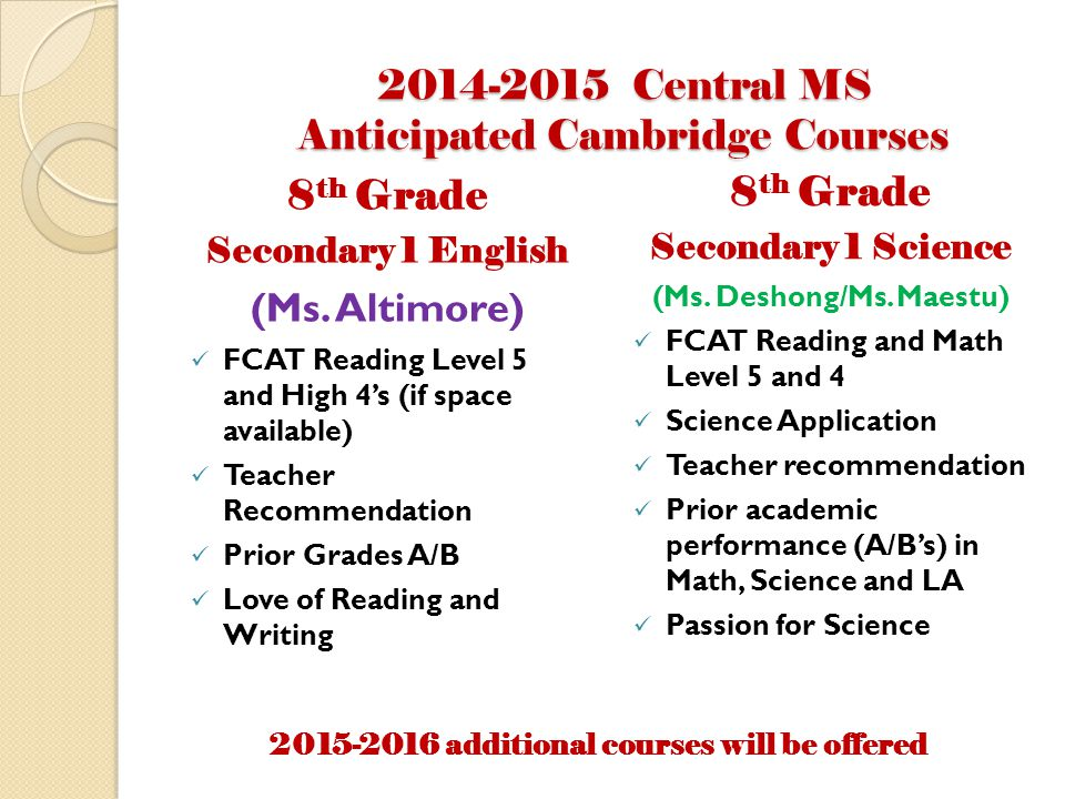 2014-2015 Central MS Anticipated Cambridge Courses 8 th Grade Secondary 1 English (Ms.