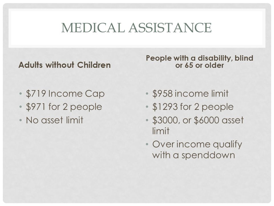 MEDICAL ASSISTANCE Adults without Children $719 Income Cap $971 for 2 people No asset limit People with a disability, blind or 65 or older $958 income