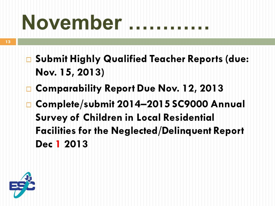 13 November …………  Submit Highly Qualified Teacher Reports (due: Nov.