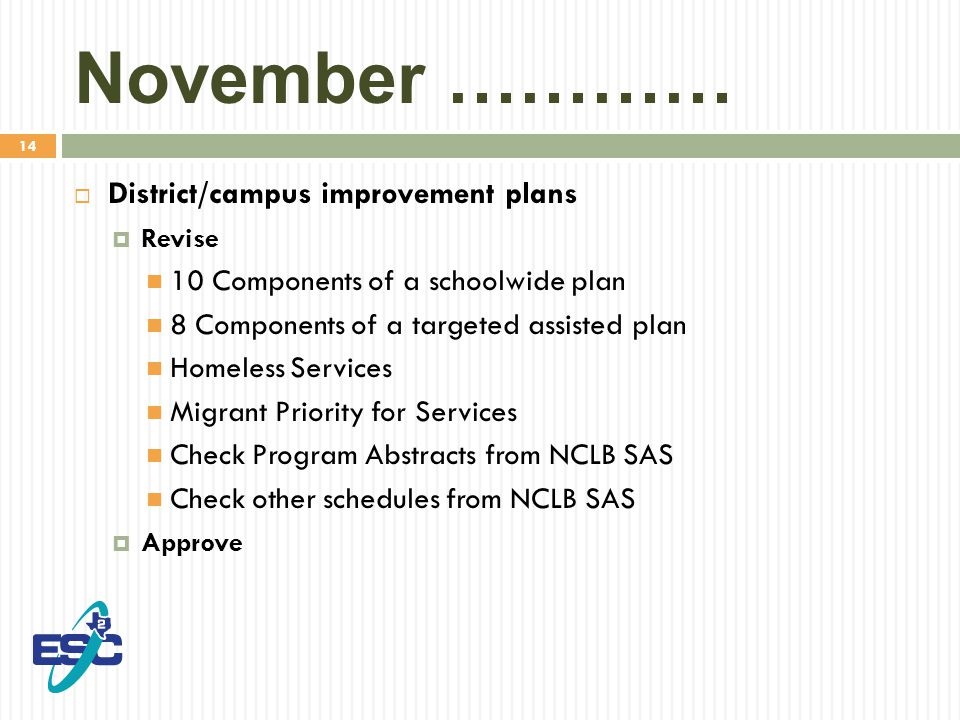 14 November …………  District/campus improvement plans  Revise 10 Components of a schoolwide plan 8 Components of a targeted assisted plan Homeless Services Migrant Priority for Services Check Program Abstracts from NCLB SAS Check other schedules from NCLB SAS  Approve