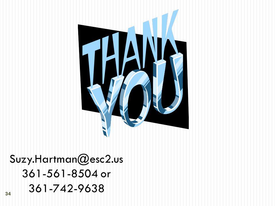 34 Suzy.Hartman@esc2.us 361-561-8504 or 361-742-9638