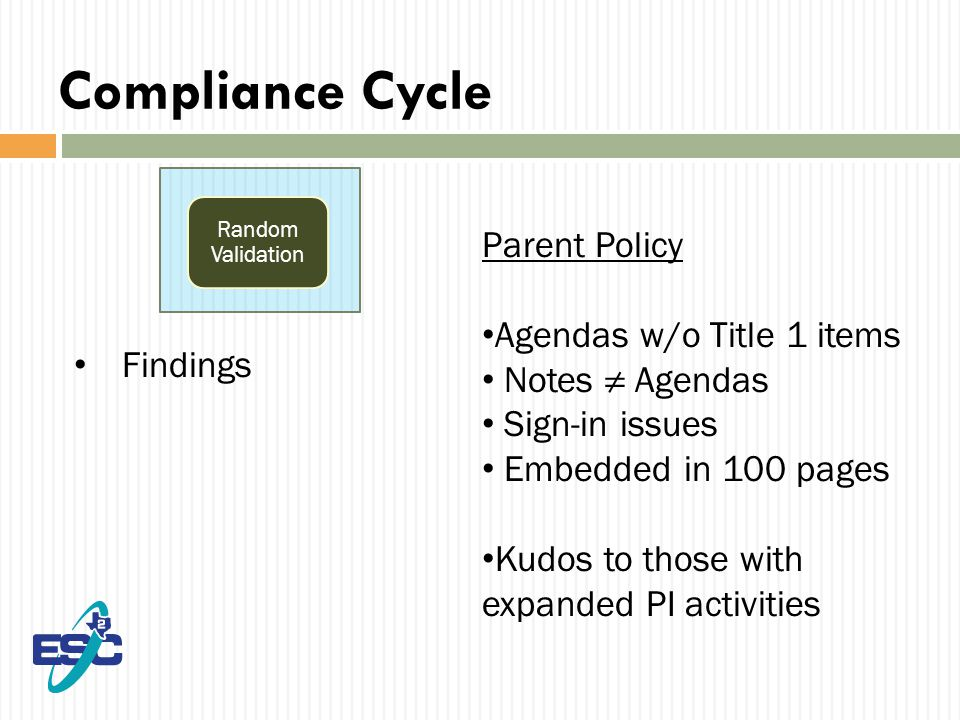 Compliance Cycle Findings Random Validation Parent Policy Agendas w/o Title 1 items Notes ≠ Agendas Sign-in issues Embedded in 100 pages Kudos to those with expanded PI activities