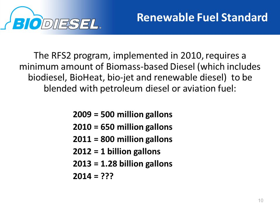 The RFS2 program, implemented in 2010, requires a minimum amount of Biomass-based Diesel (which includes biodiesel, BioHeat, bio-jet and renewable diesel) to be blended with petroleum diesel or aviation fuel: 2009 = 500 million gallons 2010 = 650 million gallons 2011 = 800 million gallons 2012 = 1 billion gallons 2013 = 1.28 billion gallons 2014 = .
