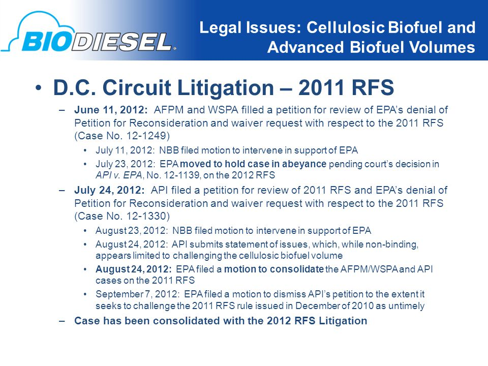 18 Legal Issues: Cellulosic Biofuel and Advanced Biofuel Volumes D.C.