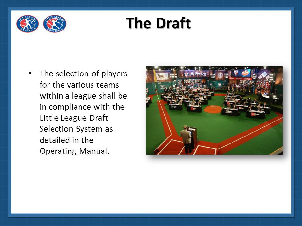 NOTE: All candidates who are league age twelve (12) must be drafted to a Little League Major Division team or to a Little League Intermediate (50/70) Baseball Division or Junior Softball Division Team.