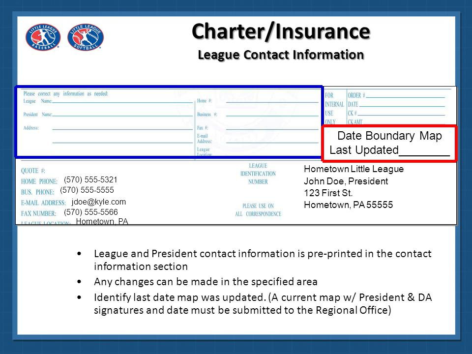 Carefully read the Volunteer Screening Agreement and the League Chartering Agreement The Charter Application requires the signature of the President and the Vice President, Treasurer or Secretary The application will not be processed if both signatures are not present.