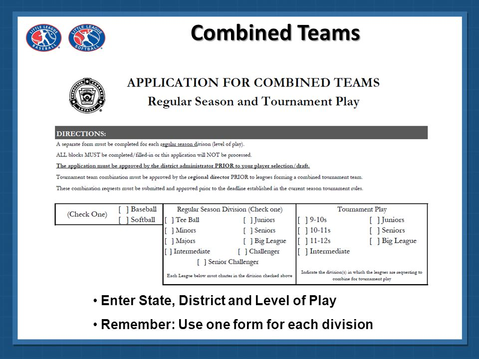 Enter League names, ID numbers for each Enter populations and numbers of players Combined Teams