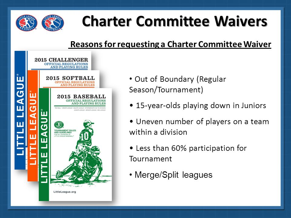 Charter Committee Waivers Reasons for requesting a Charter Committee Waiver Special Games with non-Little League teams Combine for Tournament Teams Modify Playing Rule/Regulation Alternate Draft method