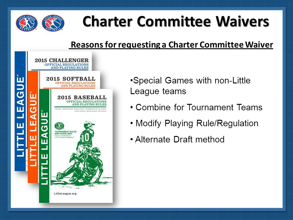 Charter Committee Waivers Process Local League Board votes whether or not to request waiver If Board votes to request a waiver, the President writes a letter, detailing the request.