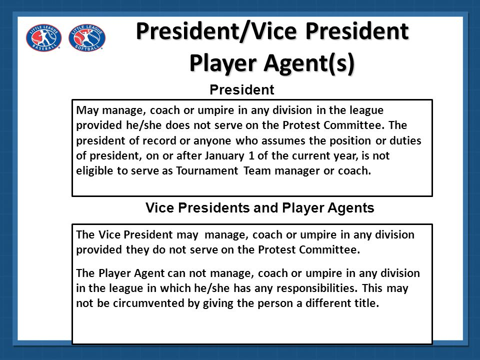 Manager MUST make the Board aware Player Agent finds out why the release is wanted Issue goes to Board If released, player is notified in writing Player CANNOT be released from a Major team to a Minor team Player can try out next season SAMPLE LETTER TO RELEASED PLAYER/PARENTS Dear Jones Family: The Board of Directors of Hometown Little League met on (date) to consider a request to release Betsy Jones from her team in the Major Division.