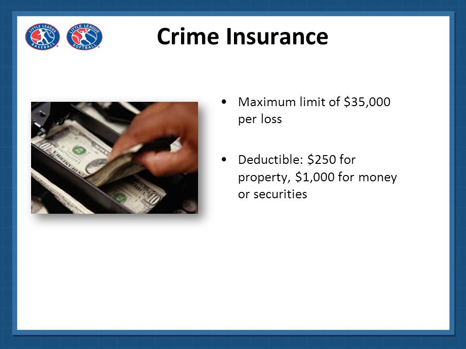 Crime Insurance Cost to Leagues: $250 Written notice shall be given at the earliest practicable moment, and in no event later than 180 days after such discovery.