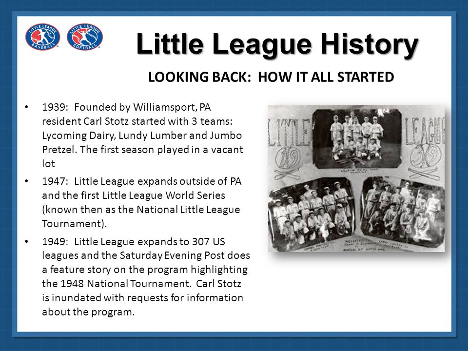 1951: Little League goes international with a league in British Columbia, Canada and grows to 776 programs.