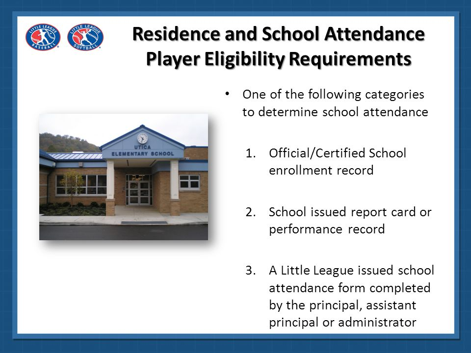 It is recommended that the league require some proof of residence or school attendance within the league's boundaries at the time the player registers.