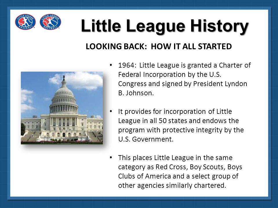 Little League History LOOKING BACK: HOW IT ALL STARTED 1974: Little League rules are revised to allow participation by girls.