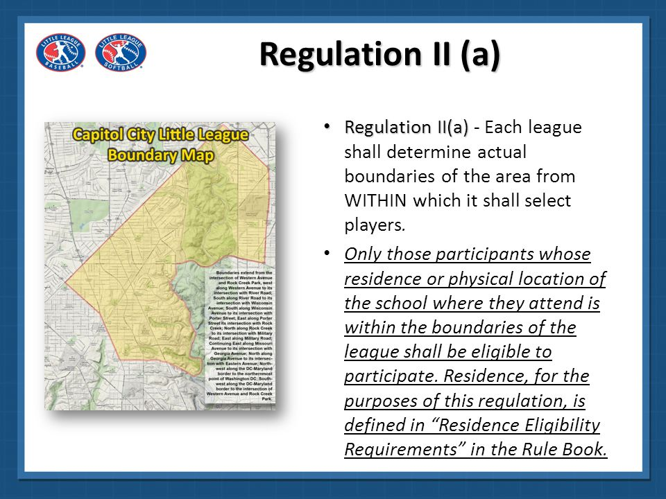 Regulation II (a) These boundaries MUST be described in detail AND shown on a map when making application for charter.
