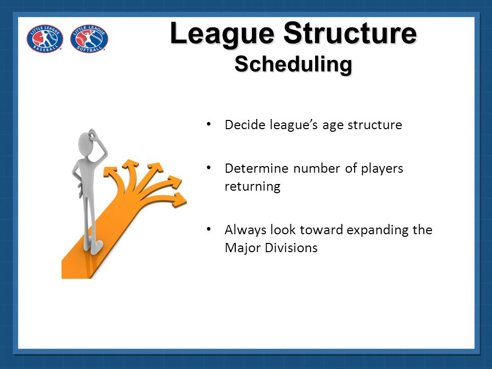 Decide on method for expansion Ensure small divisions have somebody to play 12-year-old Regulation for Majors/Junior Softball and Majors/50- 70 Baseball League Structure Scheduling