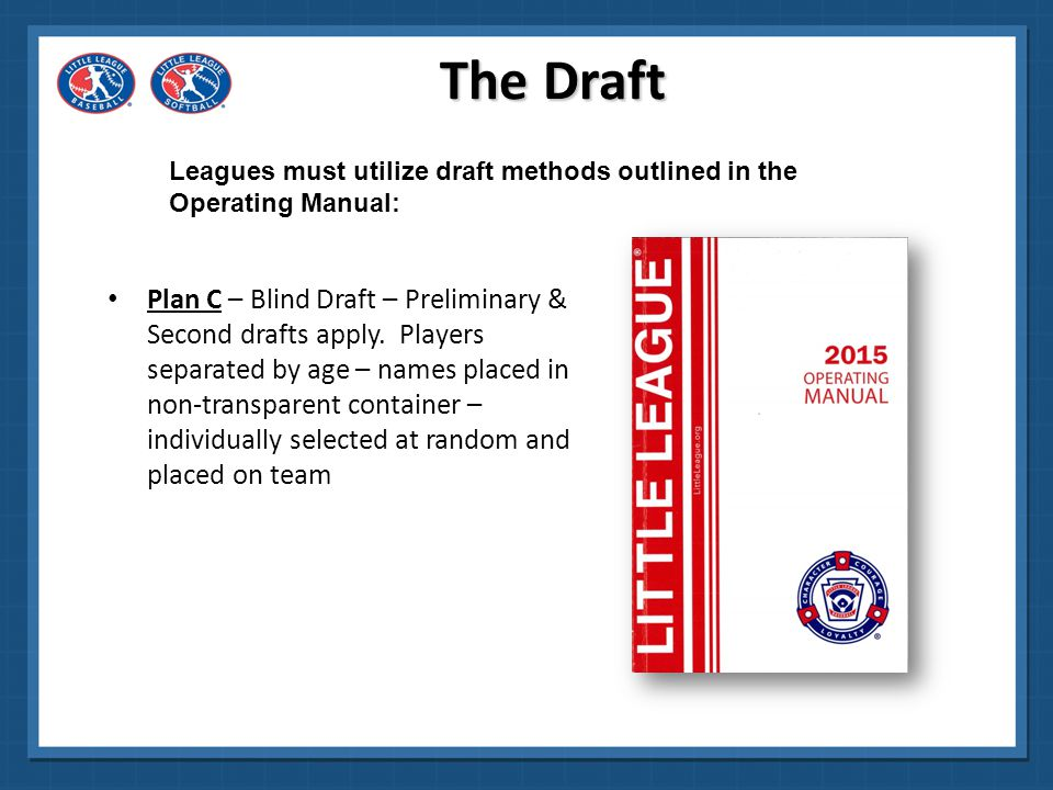 Alternative to two separate drafts (one for returning players, and one for new players) The Draft Alternate Method for Plan B Leagues must utilize draft methods outlined in the Operating Manual: