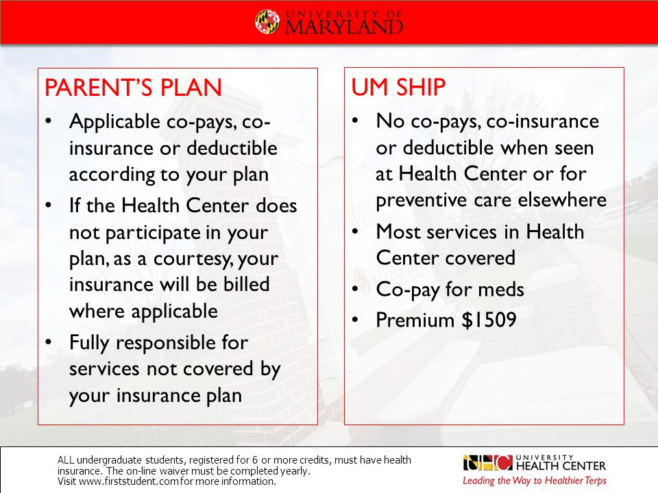 PARENT'S PLAN Applicable co-pays, co- insurance or deductible according to your plan If the Health Center does not participate in your plan, as a cour