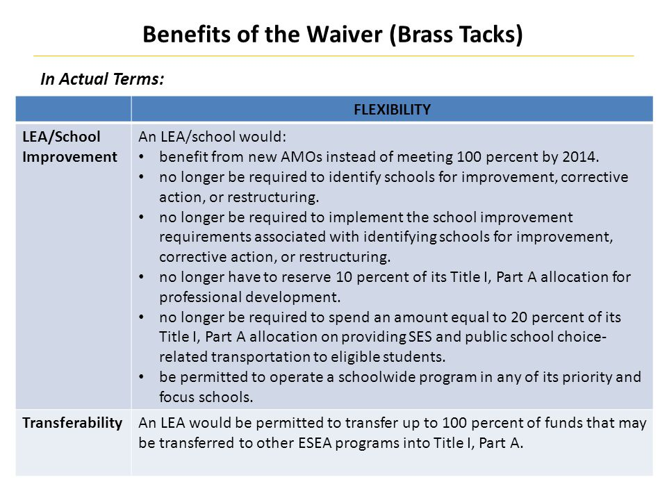 Benefits of the Waiver (Brass Tacks) 19 In Actual Terms: FLEXIBILITY LEA/School Improvement An LEA/school would: benefit from new AMOs instead of meeting 100 percent by 2014.