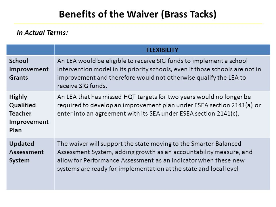 Benefits of the Waiver (Brass Tacks) 20 In Actual Terms: FLEXIBILITY School Improvement Grants An LEA would be eligible to receive SIG funds to implement a school intervention model in its priority schools, even if those schools are not in improvement and therefore would not otherwise qualify the LEA to receive SIG funds.