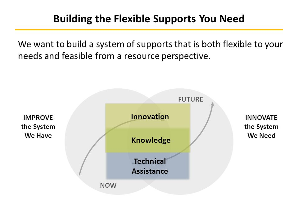 NOW INNOVATE the System We Need IMPROVE the System We Have Building the Flexible Supports You Need Innovation Technical Assistance Knowledge FUTURE We want to build a system of supports that is both flexible to your needs and feasible from a resource perspective.