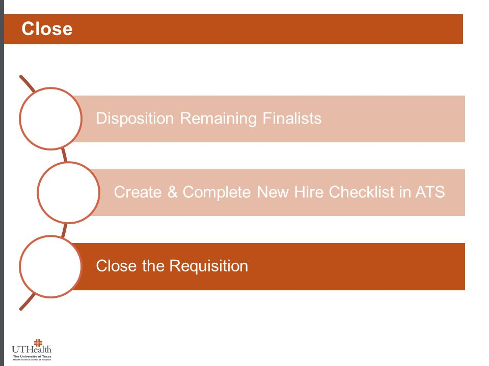 Disposition Remaining Finalists Create & Complete New Hire Checklist in ATS Close the Requisition Phase I - Prep Close