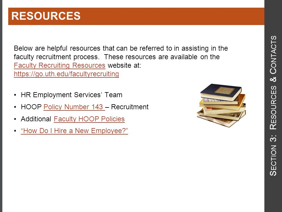 Below are helpful resources that can be referred to in assisting in the faculty recruitment process.