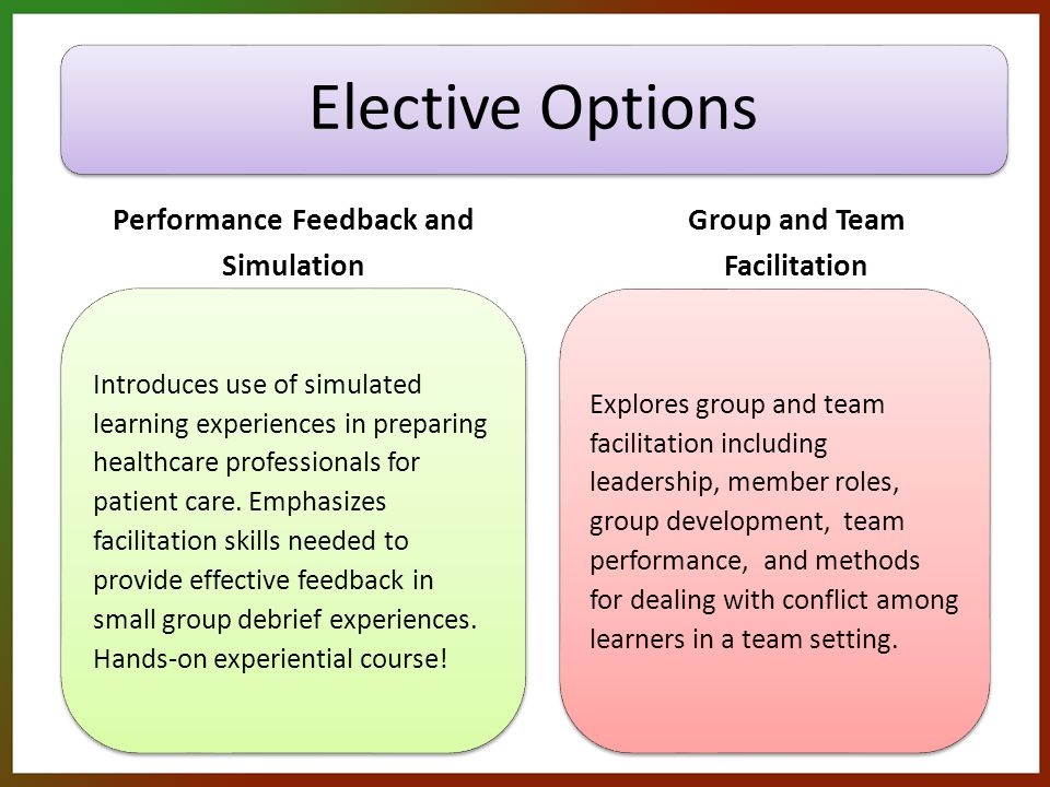 Elective Options Performance Feedback and Simulation Introduces use of simulated learning experiences in preparing healthcare professionals for patient care.