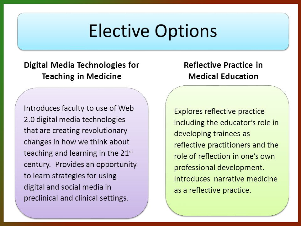 Elective Options Digital Media Technologies for Teaching in Medicine Introduces faculty to use of Web 2.0 digital media technologies that are creating revolutionary changes in how we think about teaching and learning in the 21 st century.