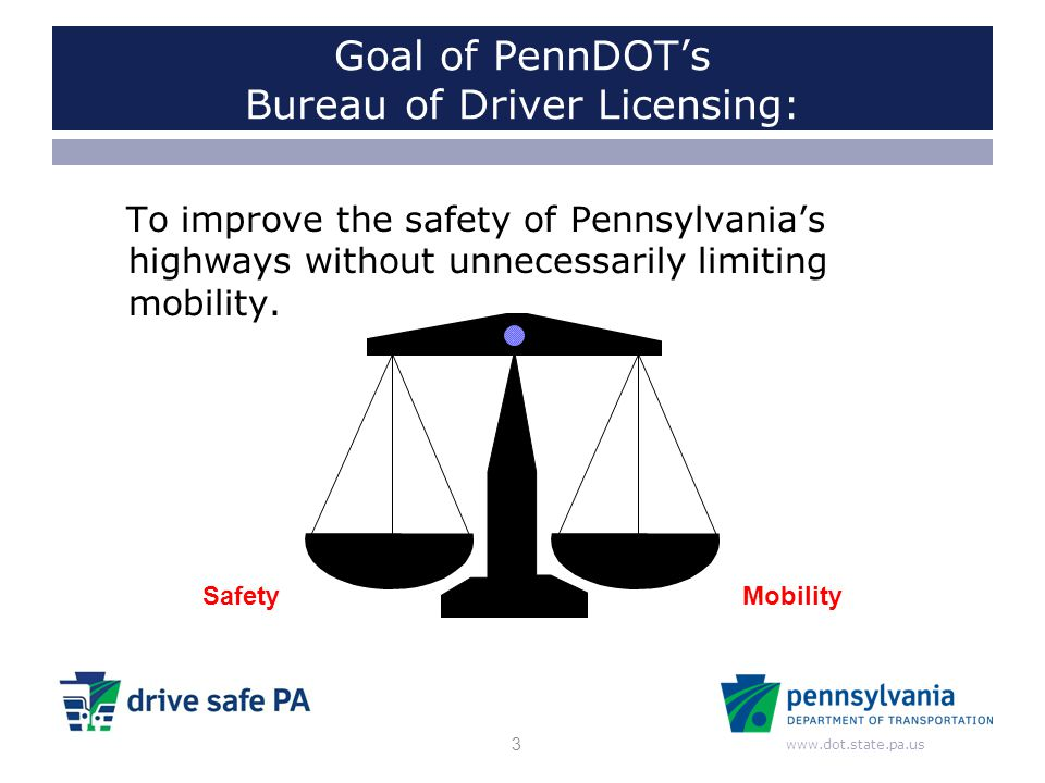 www.dot.state.pa.us Goal of PennDOT's Bureau of Driver Licensing: To improve the safety of Pennsylvania's highways without unnecessarily limiting mobi