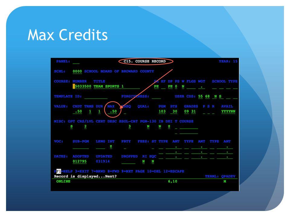 Max Credits